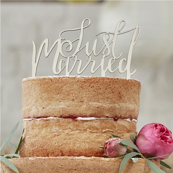 Picture of Just Married Wooden Cake Topper