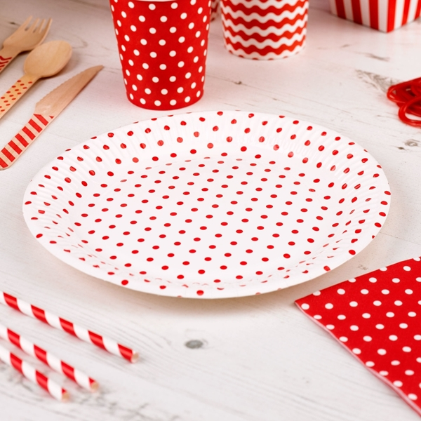 Picture of Paper Plates - Dots Red (22.5cm)