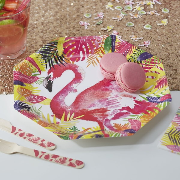 Picture of Paper Plates (24,5cm.)-Flamingo