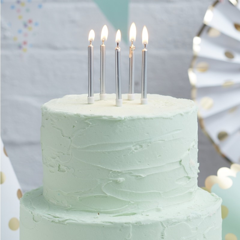Picture Of Silver Metallic Cake Candles