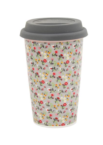 Κούπα ταξιδίου-Γκρι με λουλούδια