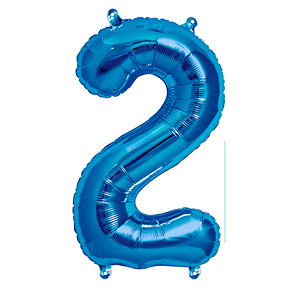 Picture of Foil balloon number 2 blue 86cm