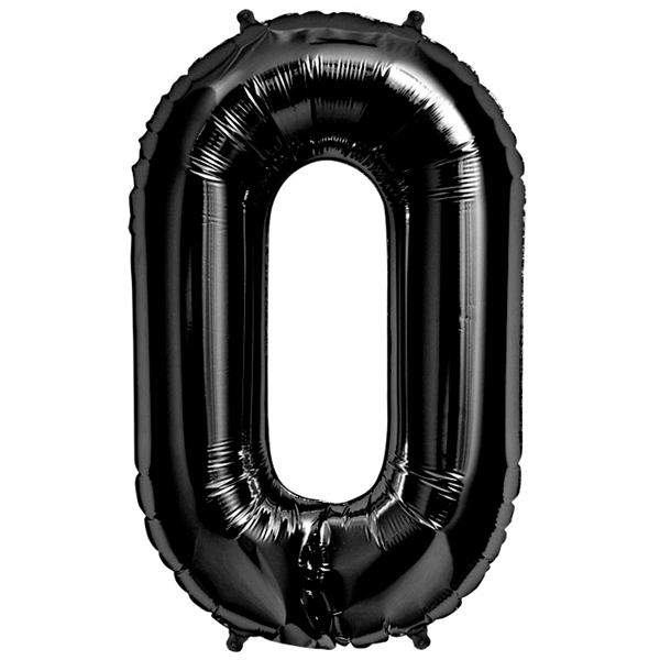 Picture of Foil balloon number 0 black 86cm.