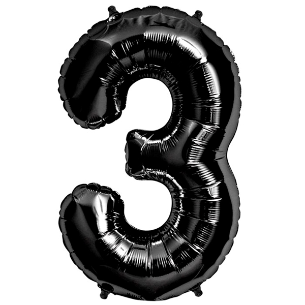 Picture of Foil balloon number 3 black 86cm