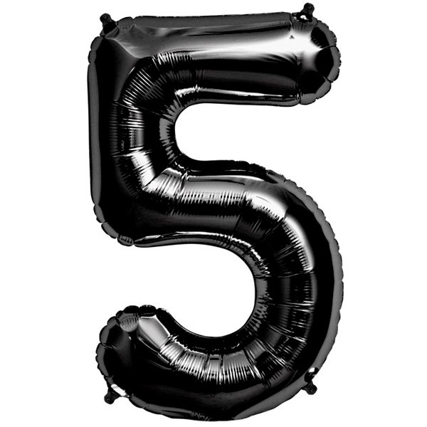 Picture of Foil balloon number 5 black 86cm