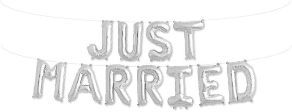 Μπαλόνια σετ JUST MARRIED ασημί