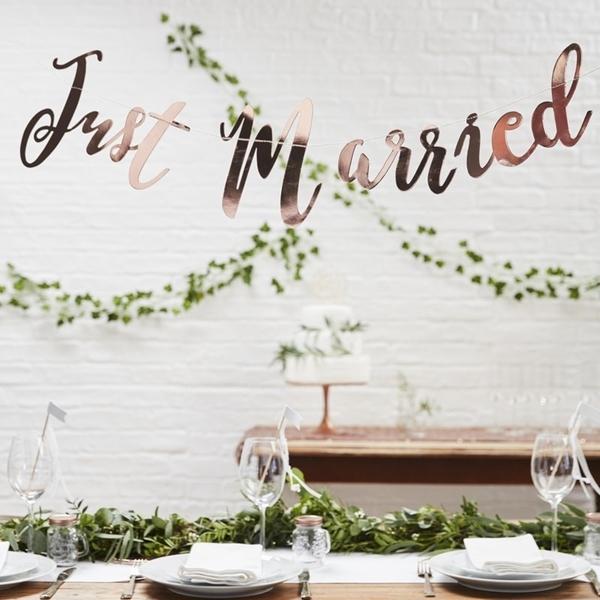 Γιρλάντα Just Married ροζ χρυσό