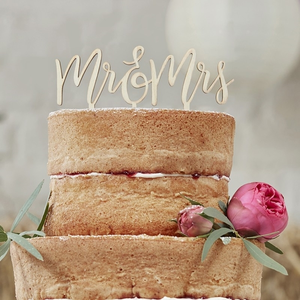 Picture of Wooden Mr & Mrs Cake Topper
