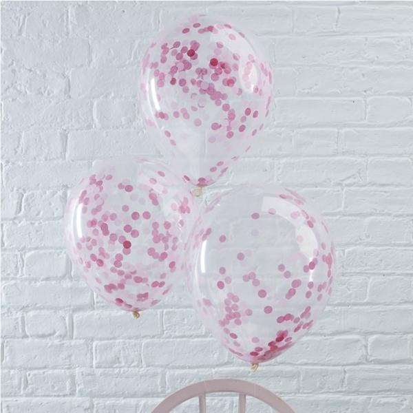 Μπαλόνια με ροζ κομφετί