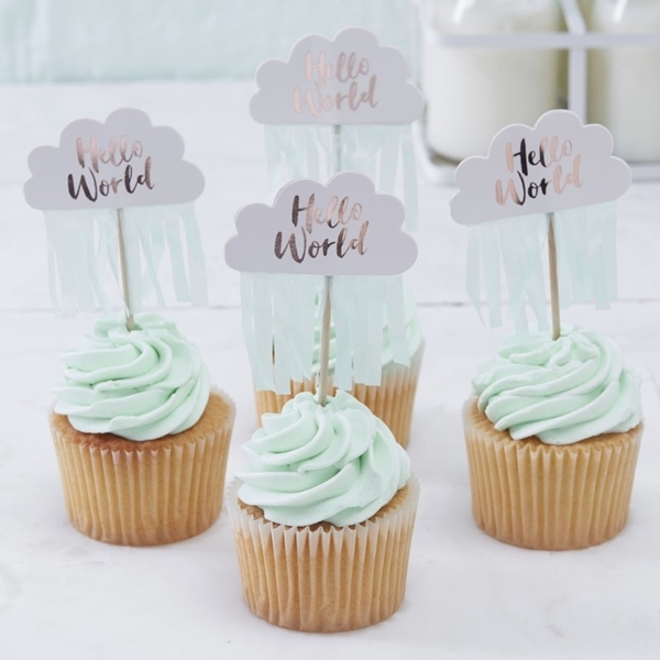 Picture of Rose Gold & Cloud Cupcake Toppers-Hello World