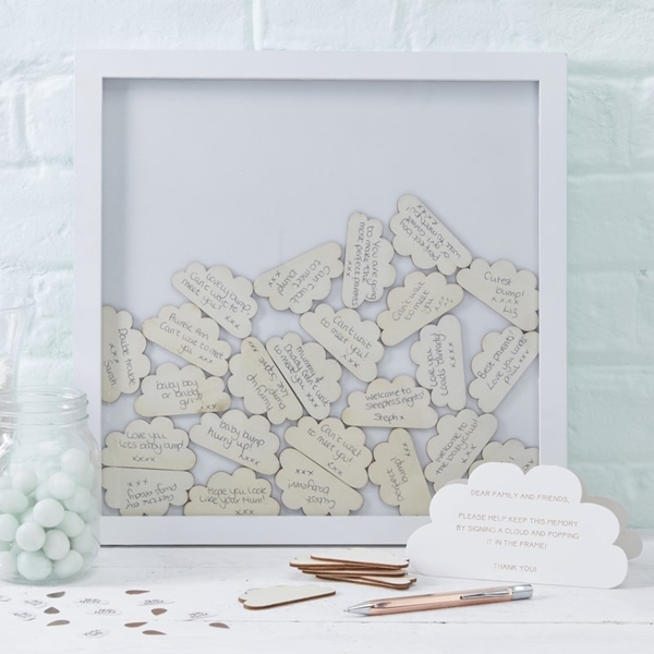 Picture of Hello World-Cloud Drop Top Frame Guest Book