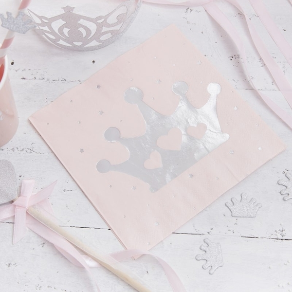 Picture of Princess-Paper Napkins Pink & Silver Foiled Tiara