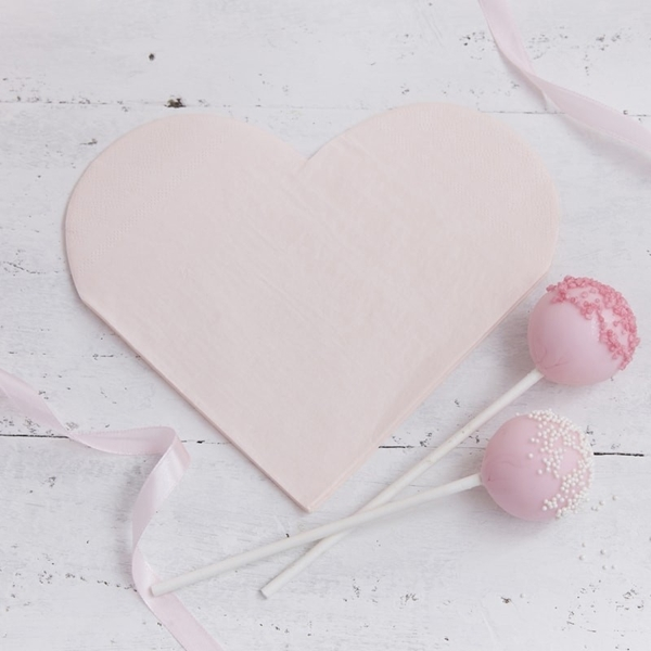 Picture of Princess-Pink Heart Shaped Paper Napkins