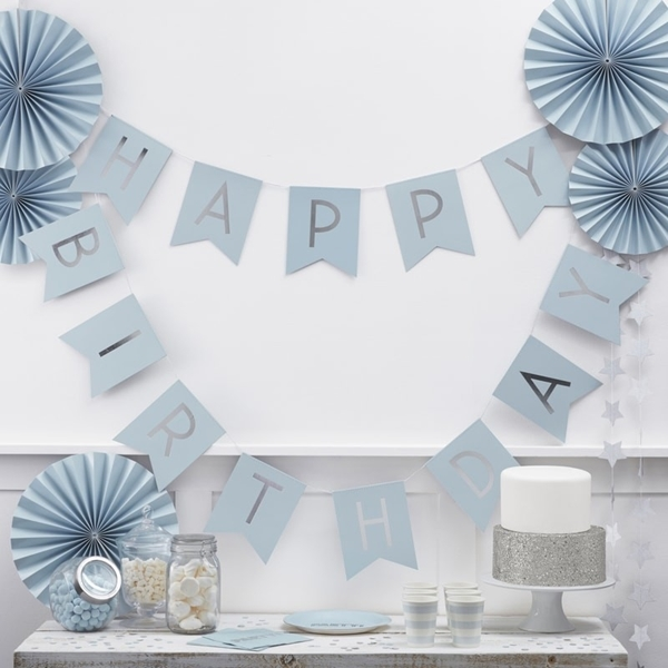 Picture of Baby Blue & Silver Foil Happy Birthday Bunting