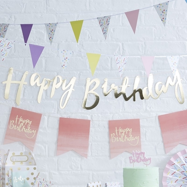 Picture of Gold Happy Birthday Bunting
