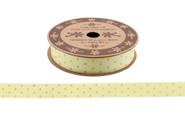 Picture of Yellow and gold 5m cotton ribbon