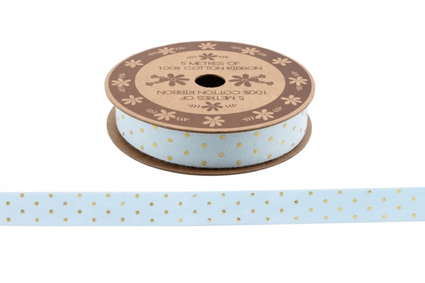 Picture of Light blue and gold 5m cotton ribbon