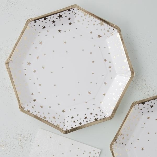 Χάρτινα πιάτα φαγητού-Χρυσά Αστέρια