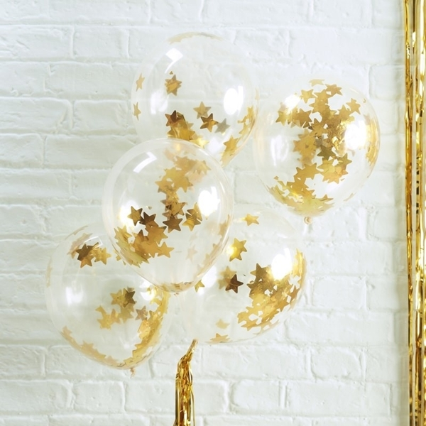 Picture of Gold Star Shaped Confetti Filled Balloons