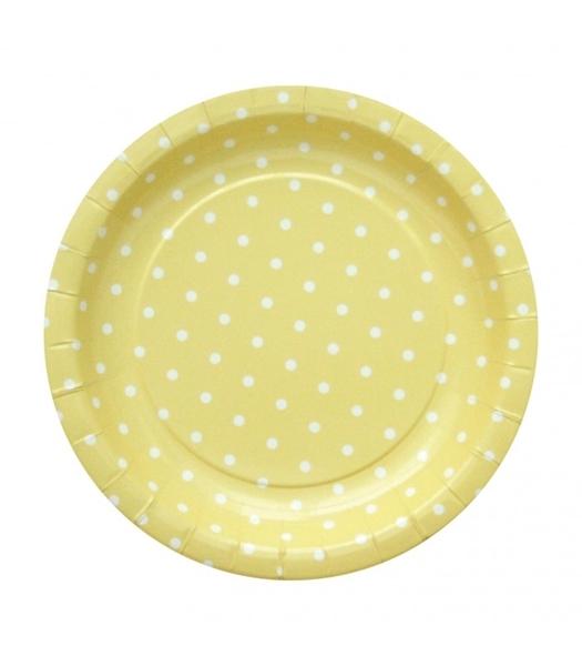 Χάρτινα πιάτα (20εκ.)- Κίτρινα με λευκά πουά