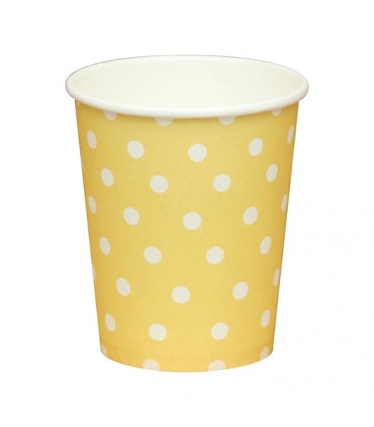 Χάρτινα ποτήρια κίτρινα με λευκά πουά