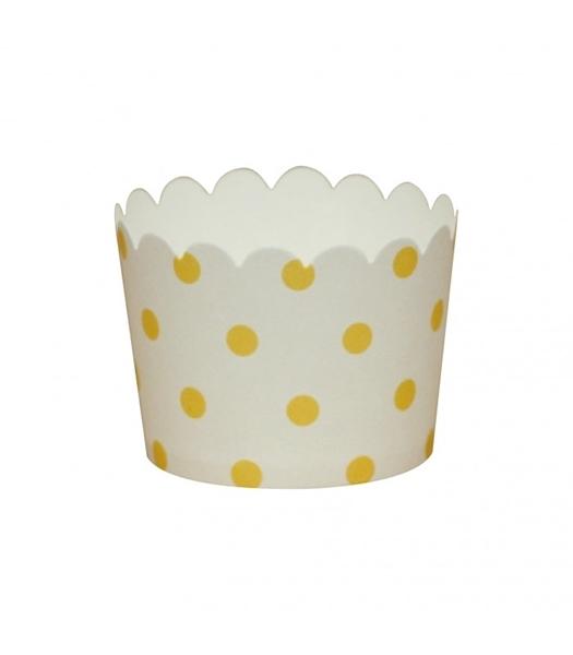 Θήκες για cupcakes κίτρινο πουά