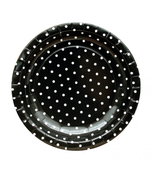 Picture of Plates black polka dots (20cm.)