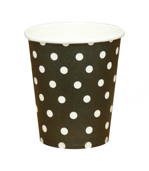 Χάρτινα ποτήρια μαύρα με λευκά πουά