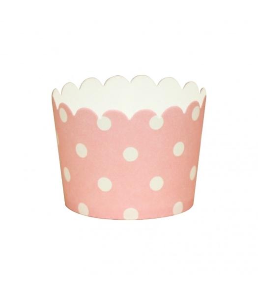 Θήκες για cupcakes ροζ με λευκά πουά
