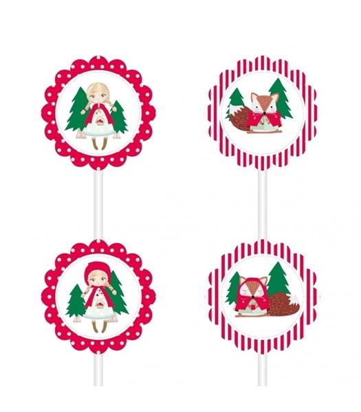 Διακοσμητικά sticks για cupcakes-Κοκκινοσκουφίτσα