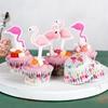 Θήκες και διακοσμητικά για cupcakes- Φλαμίνγκο