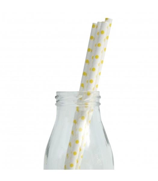 Χάρτινα καλαμάκια λευκά με κίτρινα πουά (25τμχ)