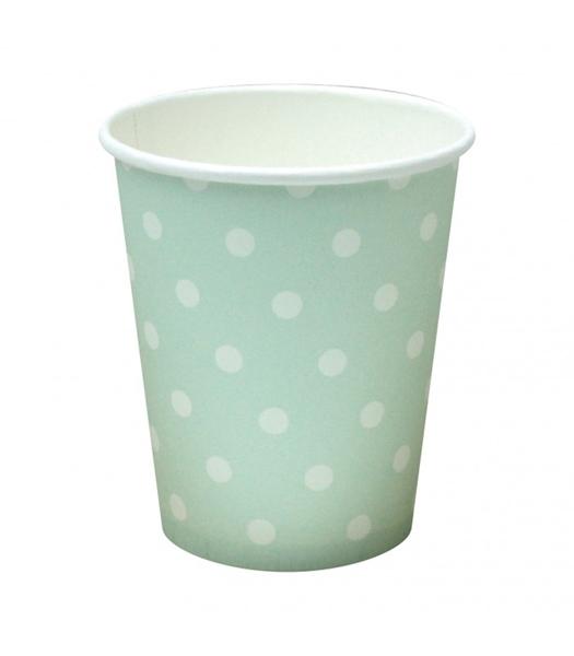 Picture of Paper cups mint polka dots