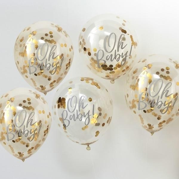 Μπαλόνια με χρυσά κομφετί- Oh Baby