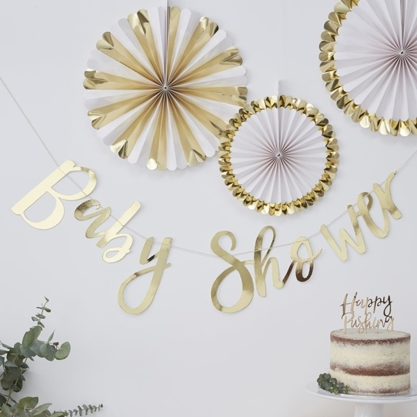 Picture of Gold foiled baby shower bunting