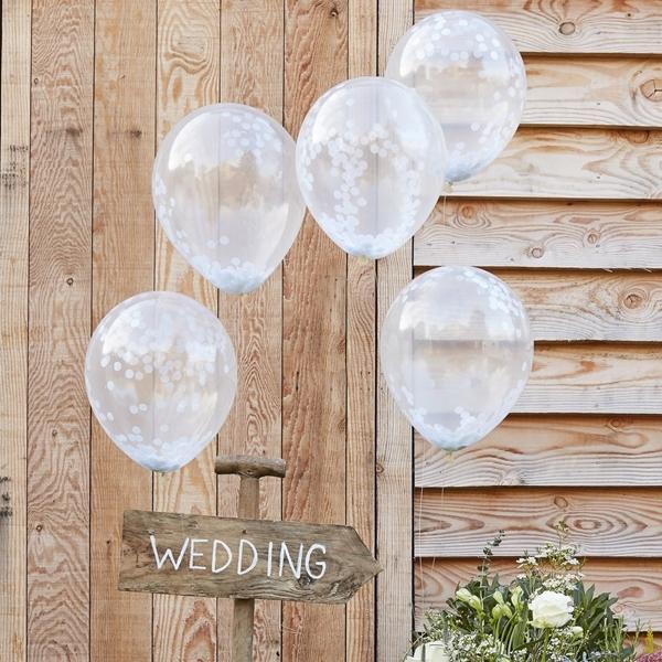Μπαλόνια με λευκά κομφετί