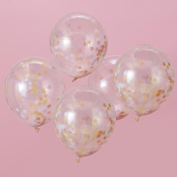 Μπαλόνια με κομφετί παστέλ αστέρια