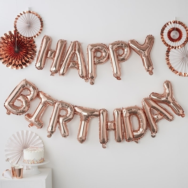 Picture of Rose Gold Happy Birthday Balloon Bunting