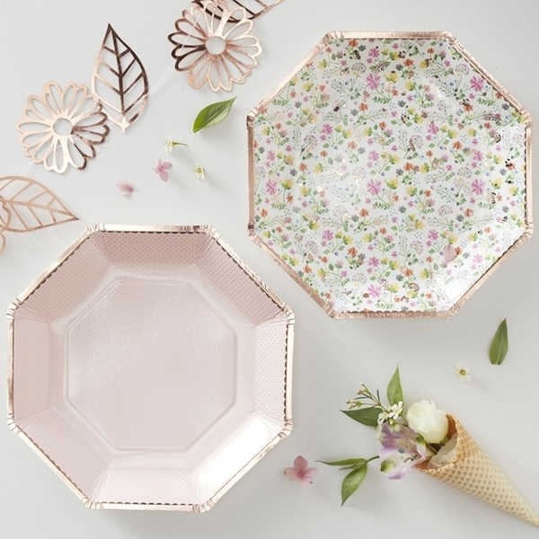 Picture of Rose Gold Foiled Floral Plates (24.5cm.)