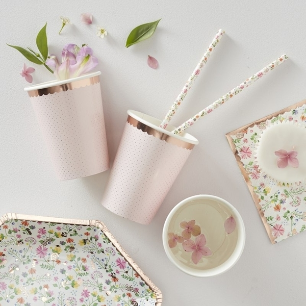 Picture of Rose Gold Foiled Polka Dot Paper Cups