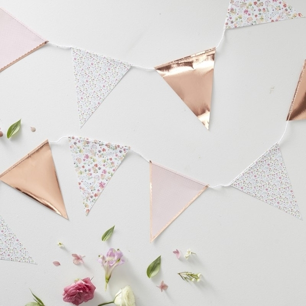 Picture of Rose Gold Foiled Floral Printed Bunting