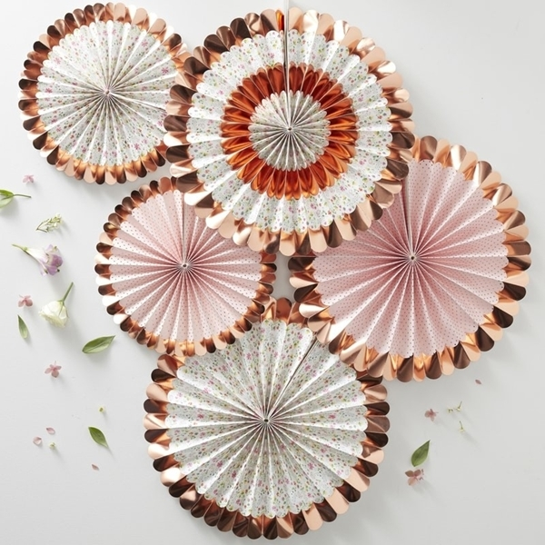 Picture of Rose Gold Foiled Floral Fan Decorations