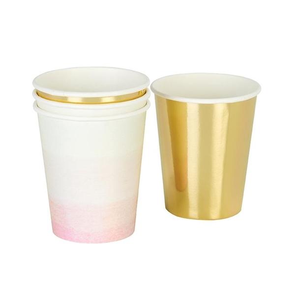 Χάρτινα ποτήρια-Ροζ και Χρυσό