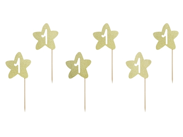 Picture of Cupcake toppers - Gold star with No1