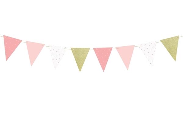 Χάρτινη γιρλάντα με σημαιάκια - Ροζ