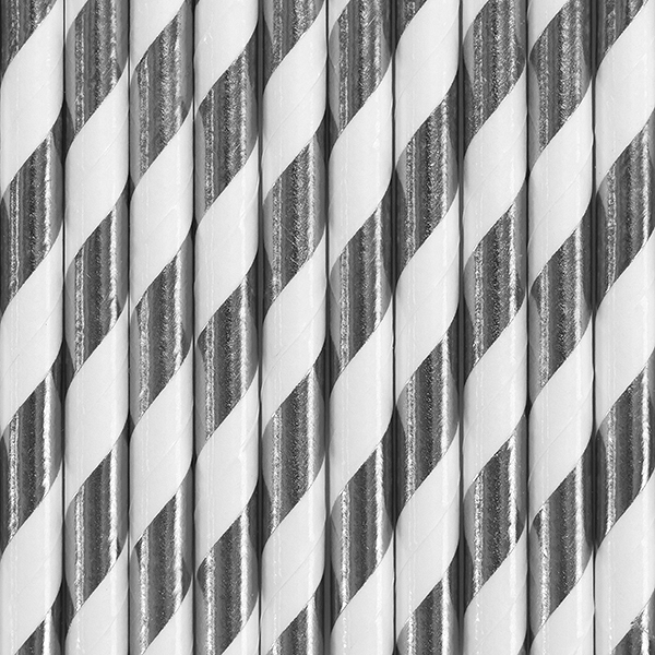 Picture of Paper straws silver and white (10pc.)