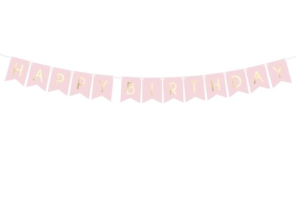 Γιρλάντα-Happy Birthday ροζ