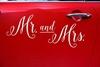 Αυτοκόλλητο Mr and Mrs για το αυτοκίνητο