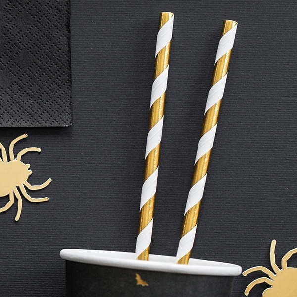 Picture of Paper straws gold stripes (10pc)