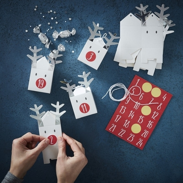 Picture of Silver reindeer advent calendar boxes